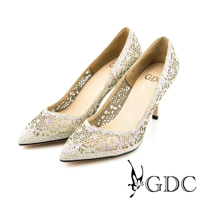 GDC-性感水鑽縷空真皮尖頭細高跟鞋/婚鞋-粉色