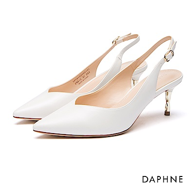 達芙妮DAPHNE 跟鞋-繞踝繫帶螺旋金屬高跟鞋-白