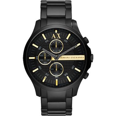 A│X Armani Exchange 雅痞時尚計時腕錶-黑x金/46mm