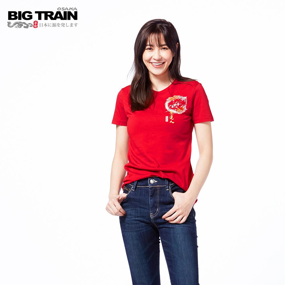 BIG TRAIN 櫻花小金魚短袖女款-女-紅色