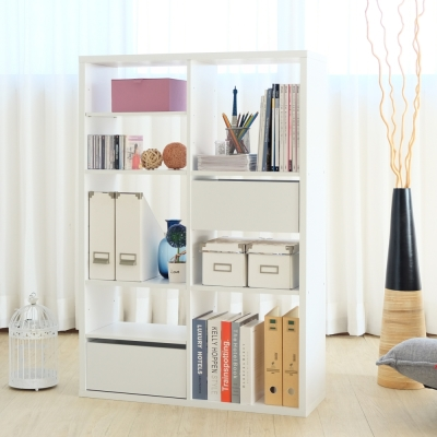 EASY HOME-加厚六格收納櫃附抽屜+活動板-白色(83.4x29x123.1cm)