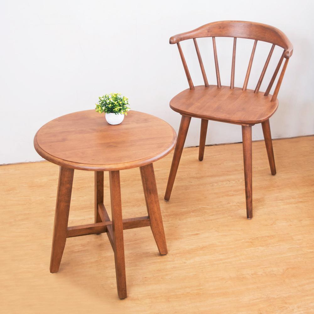 Boden-歐比實木餐椅+小茶几組合(一桌二椅)-50x50x55cm