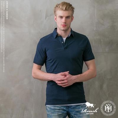 ROUSH 麂皮設計合身版網眼POLO衫 (2色)