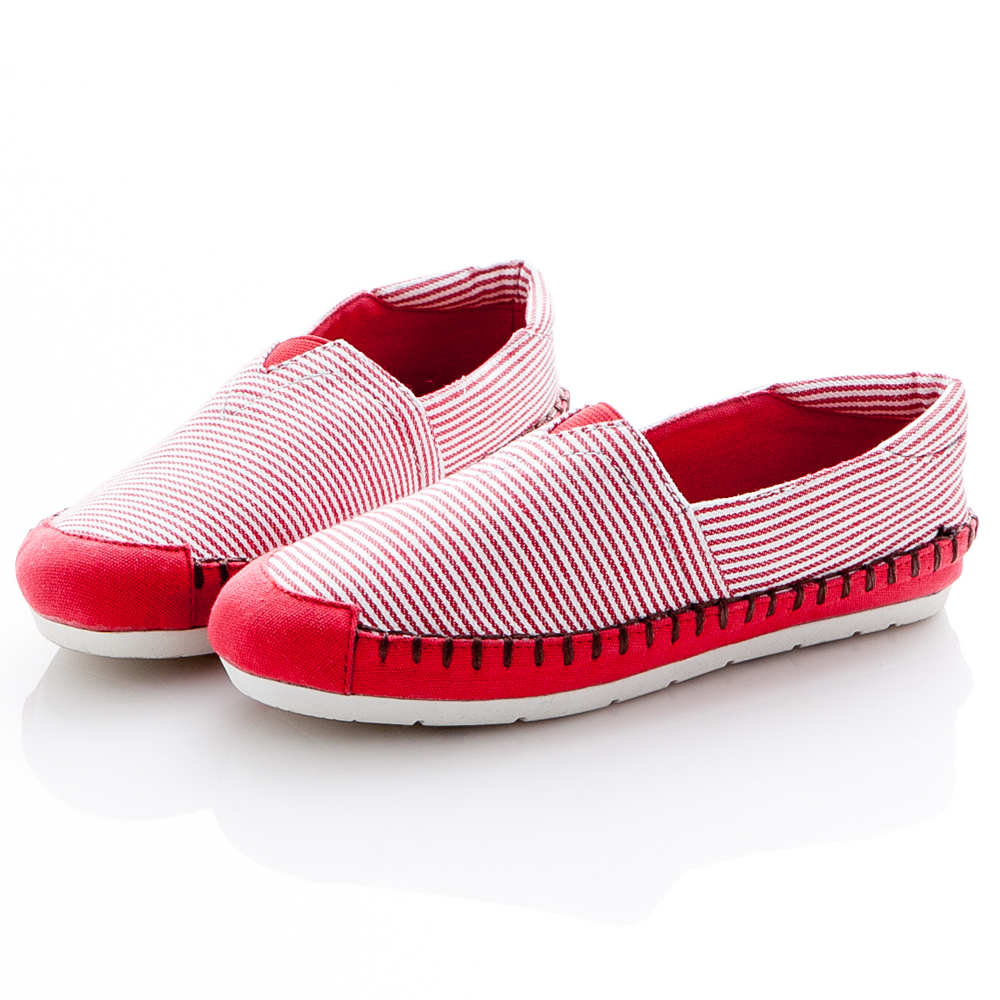 ☆JMS☆潮流款~海風條紋休閒帆布鞋-紅色