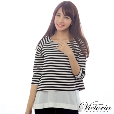 Victoria 拉克蘭條紋剪接七分袖T-女-黑白條