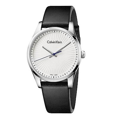 CK CALVIN KLEIN Steadfast 堅定系列太陽紋白色面盤手錶-40mm