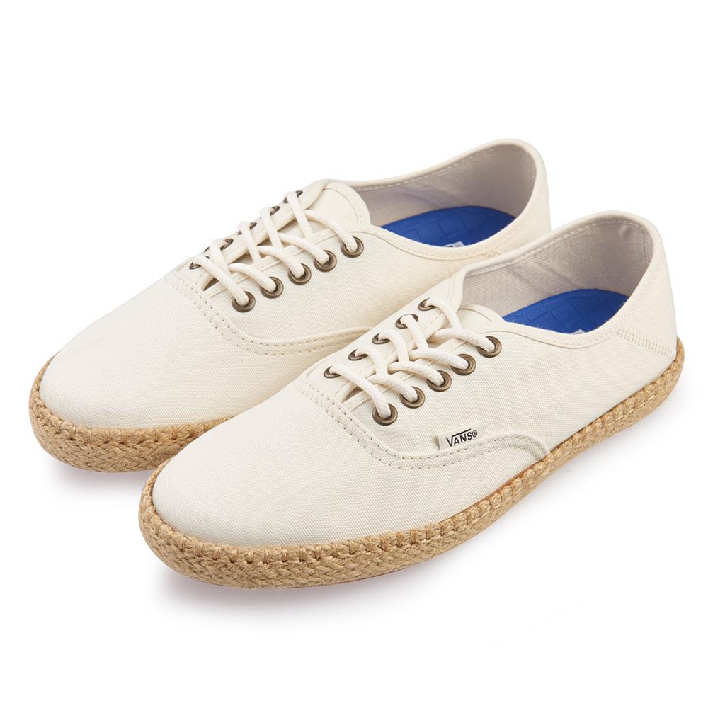 (男)VANS Authentic ESP 麻編素色5孔綁帶休閒鞋*白色