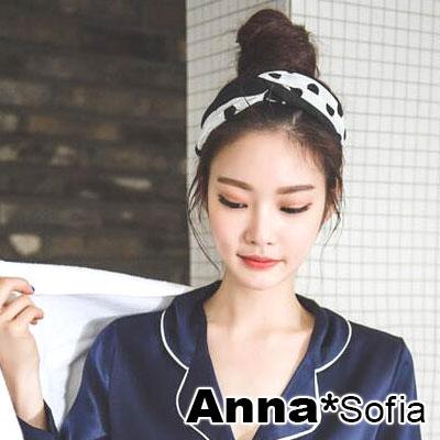 AnnaSofia 波點雙拼布交叉結 彈性寬髮帶(酷黑系)