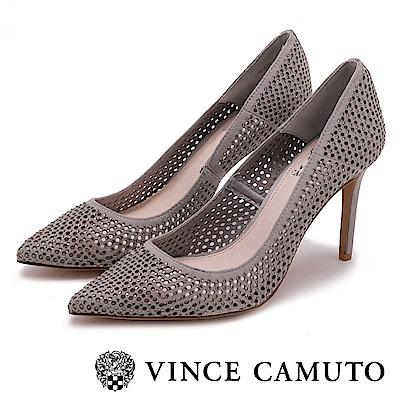 Vince Camuto 個性美學 絨面尖頭曲線高跟鞋-絨灰