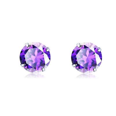 ACUBY 925純銀驚彩鋯石單鑽耳環/3mm紫紅