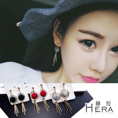 Hera 赫拉 圓形毛球球流蘇耳針/耳環(3色)