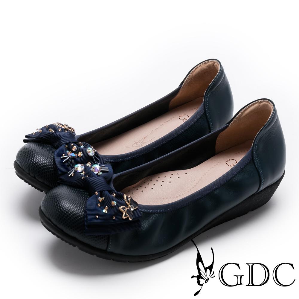 GDC-真皮甜美佳人蝴蝶結楔型娃娃鞋-藍色