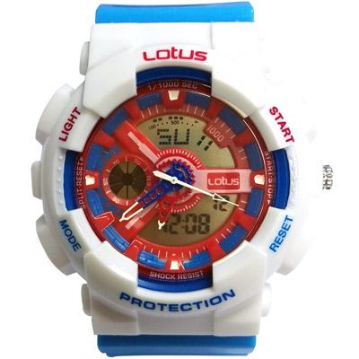 Lotus 街頭潮男 計時鬧鈴雙顯運動錶(LS-1026-12)-藍白/52mm