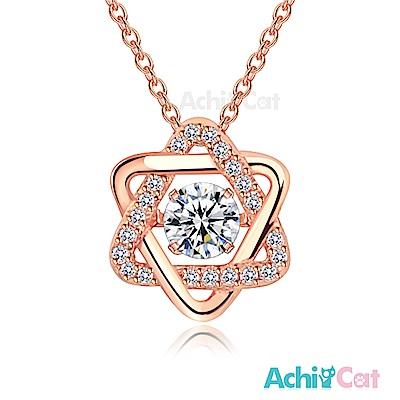 AchiCat 925純銀 跳舞的項鍊 守護星 跳舞石(玫瑰金)