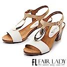 Fair Lady 摩登復古金屬飾木質高跟鞋 卡其