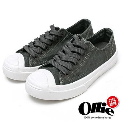 Ollie韓國空運-正韓製復古刷色水洗帆布奶油頭休閒鞋-深灰