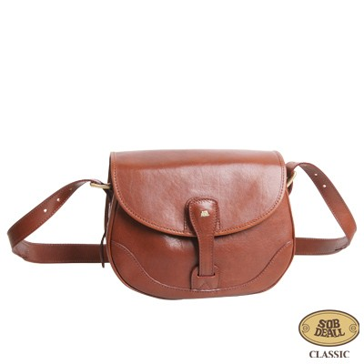 SOBDEALL 沙伯迪澳 - 真皮斜背包 獨特上釦設計 可調式背帶 經典咖啡