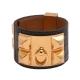 HERMES collier de chien金屬鉚釘鱷魚皮寬版手環(S-黑X金) product thumbnail 1