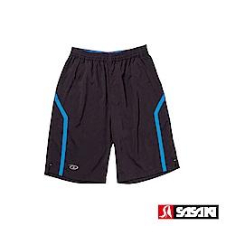 SASAKI 抗紫外線功能四面彈力網球短褲(長版)-男-黑/亮藍