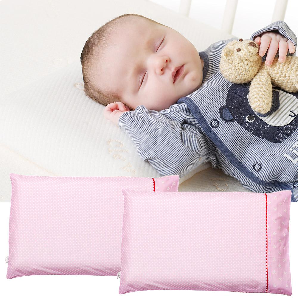 ClevaMama 防扁頭嬰兒枕-專用枕套2入(粉色點點)