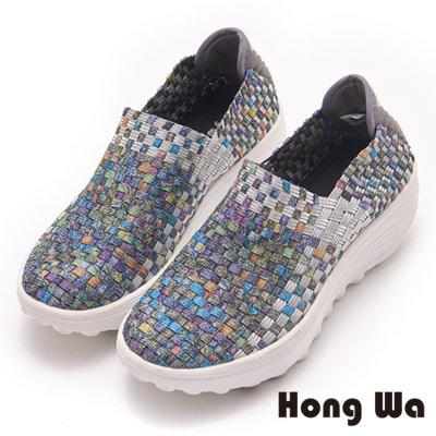 Hong Wa 繽紛亮麗編織厚底休閒鞋-綠