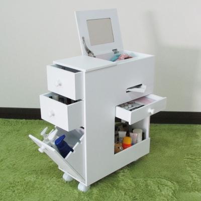 Amos-歐風多功能移動式化妝櫃/收納櫃-白色22.8x46.3x58cm