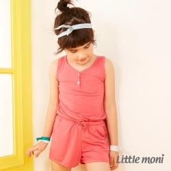 Little moni 美式休閒無袖連身短褲 山茶紅