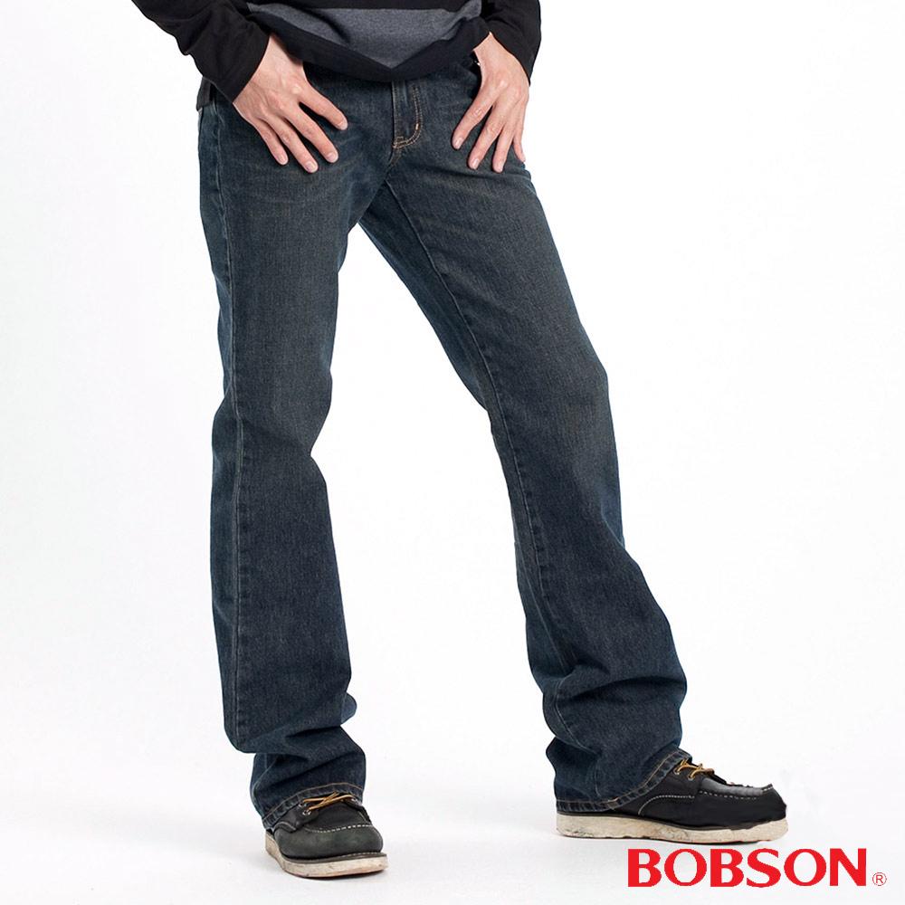 【BOBSON】男款鬼爪立體褶痕小喇叭褲(藍52)