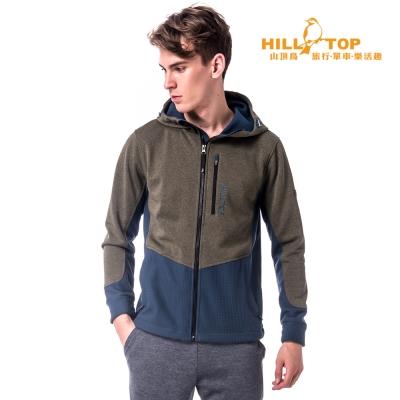 【hilltop山頂鳥】男款防風透氣刷毛外套H22MV8麻花綠/夜藍