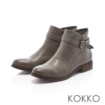 KOKKO-懷舊磨色側扣擦色短靴-瀟灑灰