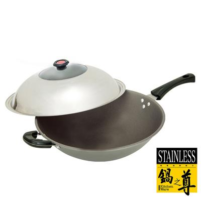 MIT鍋之尊  鈦合金手工鑄造不沾炒鍋附蓋(單柄)36cm