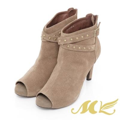 MK-台灣製全真皮-時尚鉚釘金屬扣飾魚口高跟短靴-駝色