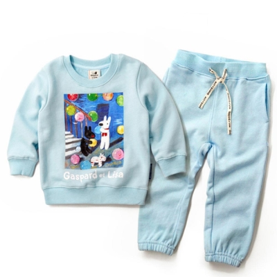 GL法國 優質萌系童趣淺藍長袖休閒套裝2件組