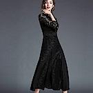ABELLA 艾貝拉 露膚緹花黑蕾絲拼接剪裁長裙洋裝(S-2XL)