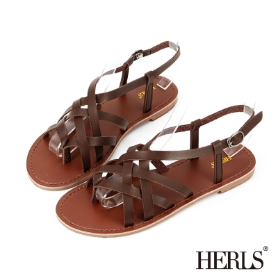 HERLS-清新小文青 編織羅馬涼鞋-深棕