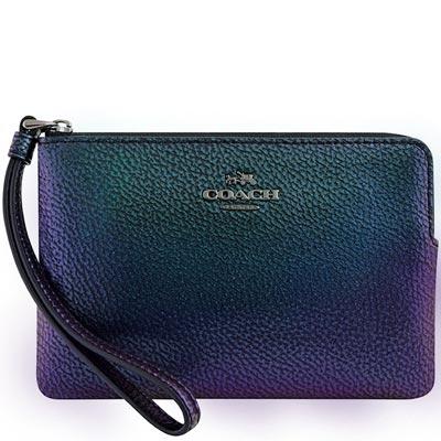 COACH 孔雀藍金屬光澤皮革手拿包