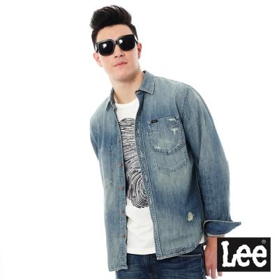Lee 牛仔Vintage Laundry長袖襯衫- 男款-藍