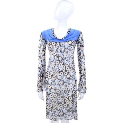PHILOSOPHY-AF 藍色圓點印花長袖洋裝