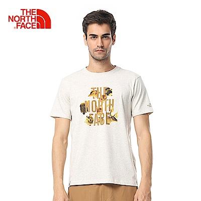 The North Face北面男款白色舒適戶外短袖T恤