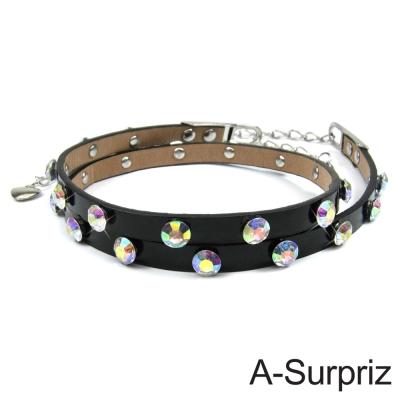 A-Surpriz 亮眼晶鑽細版腰帶(奢華黑)