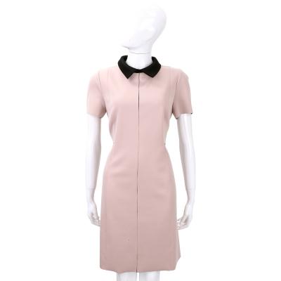 SI-JAY 粉色拼接黑領短袖洋裝