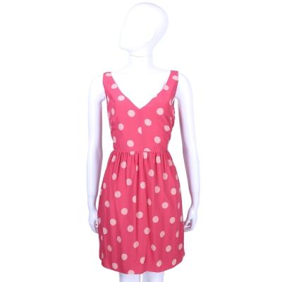 RED VALENTINO 桃紅色圓點V領無袖洋裝