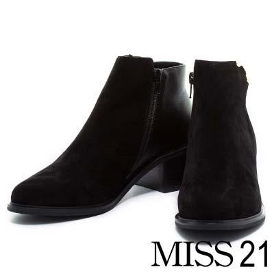 踝靴-MISS-21-素面異材質拼接粗跟踝靴-黑麂皮