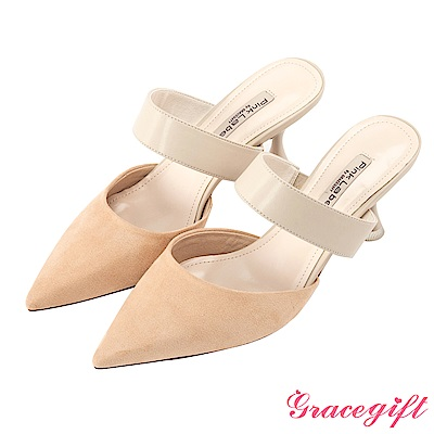 Grace gift-撞色條帶尖頭設計穆勒跟鞋 粉橘