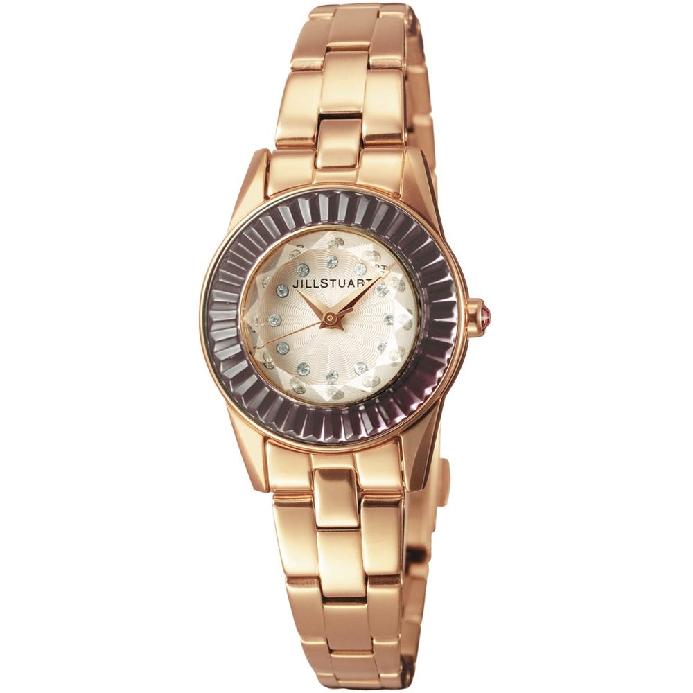 JILL STUART Prism Mini系列晶鑽時尚腕錶-米白x玫瑰金x紫鑽/24mm