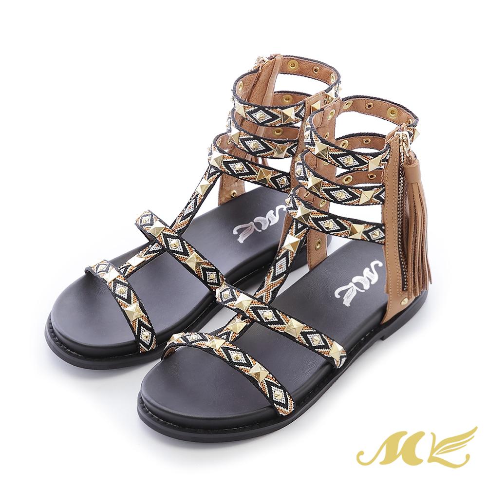 MK-民俗瘋系列-原住民織帶流蘇平底粗跟涼鞋-卡其色