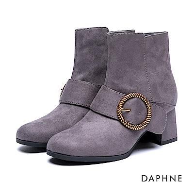 達芙妮DAPHNE 短靴-金屬圓環釦絨布梯形粗跟踝靴-灰