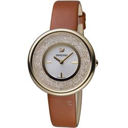 SWAROVSKI施華洛世奇Crystalline璀璨耀眼時尚腕錶-34mm/金x咖啡色
