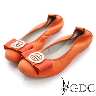 GDC百搭-超軟金屬飾扣彈力真皮平底娃娃鞋-西瓜紅