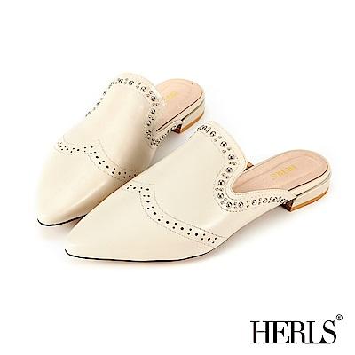 HERLS 內真皮 歐美鉚釘滾邊穆勒鞋-米色